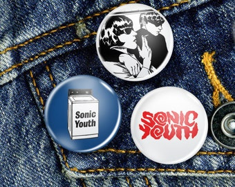 Sonic Youth NYC Pin Button Set 3 x 25mm Badges or Individual