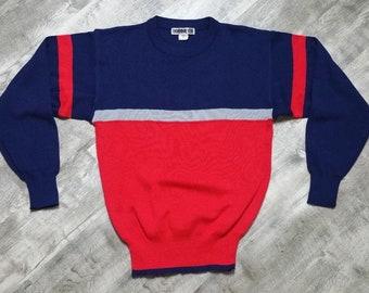 Vintage Obermeyer Men's Cary Color Block Crewneck Sweater size Medium