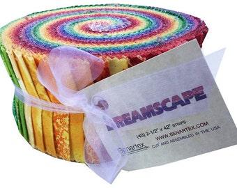 "Benartex Dreamscape Pinwheel 2.5"" Precut Fabric Quilting Cotton Strips Jelly Roll"