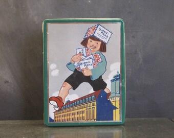 Vintage Bahlsen Biscuit Tin Giant Walking Child