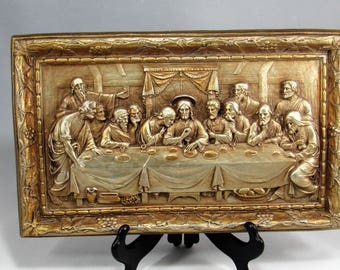 Last Supper 1950's Hand Painted  Chalkware Plaque. The Distressed Gold with Silver Finish Plaque is newly restored and painted.