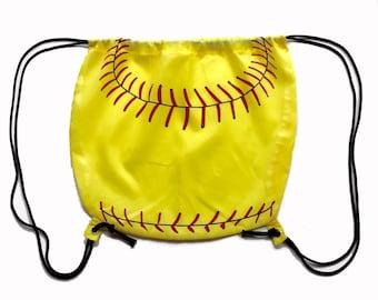 Nylon Softball Drawstring Bag (round)