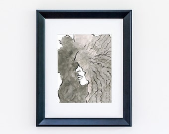 Natural Wild and Free | Natural Hair, Black & White, Ink Illustration, Art, Home Decor, Ink Wash, Wall Art, Curly Girl