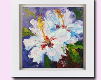 Impressionist Floral Painting, White Hibiscus, flowers still life, original oil, 6x6 inch small format art, flowergirl gift, textured flower