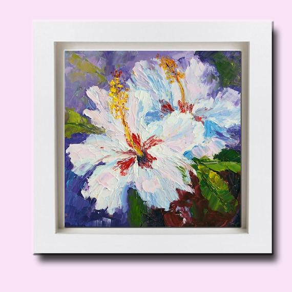 Impressionistische Gemälde weiß Hibiskus Blumen-Stillleben