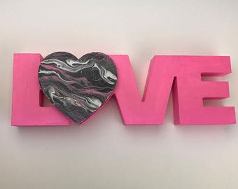 """Handmade Carved wooden """"LOVE"""" with poured marble swirl heart in pink, red, magenta, and purple - Freestanding art decor"""