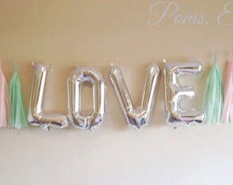 "LOVE Balloon and Tassel garland / mylar balloons 16"" Choose YOUR colors/  Foil Balloon/ tassels/ air filled"