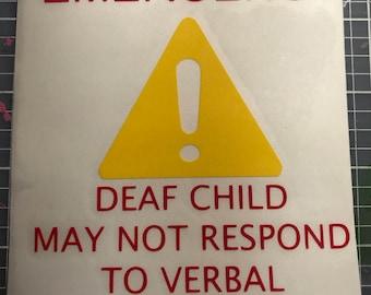 I.C.E. - in case of emergency - deaf child - emergency alert decal - deaf alert car decal - emergency alert