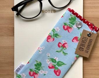 Cath Kidston Fabric - Glasses Case in Strawberries - Padded - Handmade