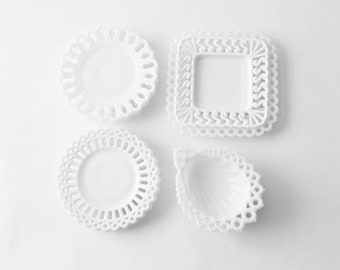 Lot of 8 Milk Glass Reticulated Plates Bowls Lacey Edge White on White Milk Glass Shell Pierced