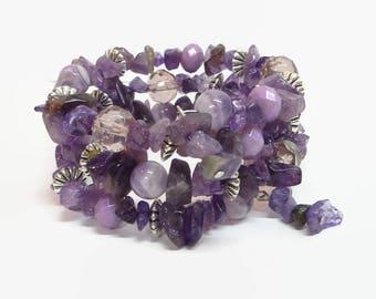 Amethyst Wrap Bracelet, Purple Gemstone Memory Wire Bracelet, Purple Boho Wrap Bracelet, Amethyst Bracelet, February Birthstone Jewelry