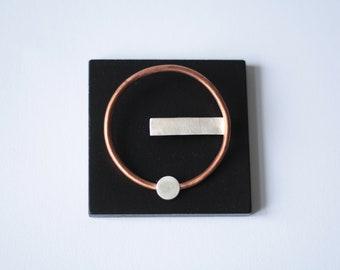 UND Brooch, copper brooch, silver brooch, modern brooch, minimalist brooch, geometric brooch, statement brooch