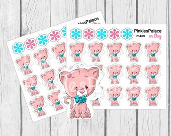 Cute Kitty Cat Small Planner Stickers PS480