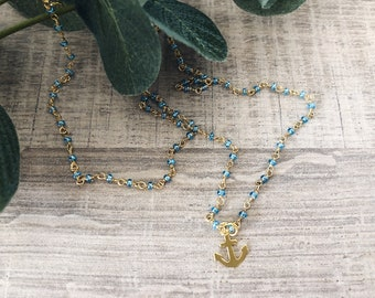 Necklace with rosary chain with mini beads and brass anchor pendant