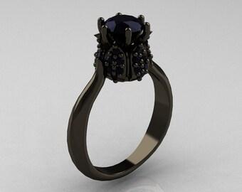 14K Black Gold 1.0 Carat Black Diamond Tulip Solitaire Engagement Ring NN119-14KBGBD