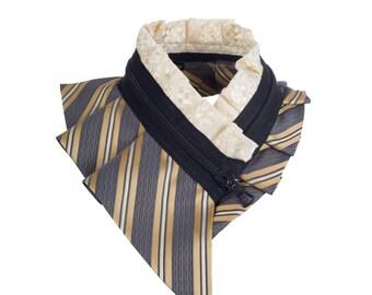 Collar necklace, unique accessory, zipper collar, silk collar, only one piece #194
