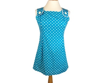 Vintage Retro Small 60's Light Blue White Polkadot Cotton Mod Mini Summer Dress