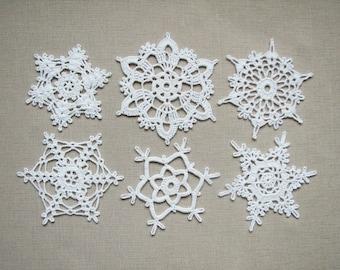 Lace snowflakes Crochet Christmas home decors Xmas ornaments Wedding decors, appliques white snowflakes