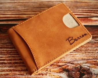 Money Clip,Personalized Wallet,Engraved Leather Wallet,Front Pocket Money Clip,RFID Blocking Bifold Slim Wallet,Mens,Minimalist Wallet
