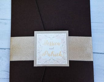 Rustic Elegant Floral Wedding Invitation