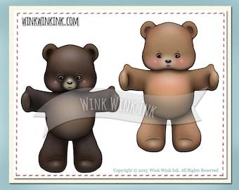 Digital Stamp - Bear Hug - Teddy Bear printable image