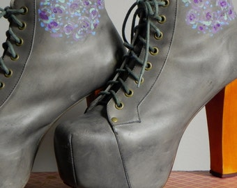 hand painted Lita platform boot, by Jeffrey Campbell, women's size 9 1/2