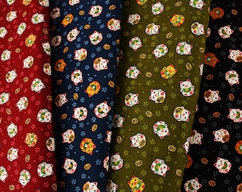 """Japanese Fortune Cat Maneki Neko Fabric made in Japan, Cats Fabric by the Half Meter 19.5"""" by 44"""" or 50cm by 110cm"""