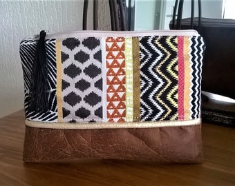 Ethnic bag fabric POUCH and brown suede