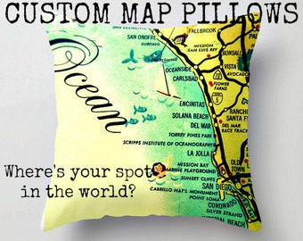 New home housewarming gift map, Custom Map Pillow Cover Decorative Pillow  Vintage Maps, New Home housewarming gift, new home personalized
