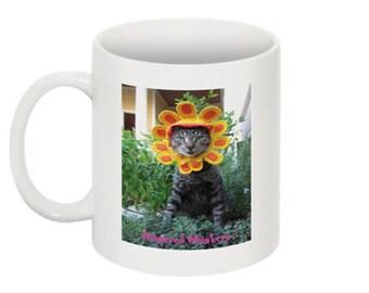 Late Bloomer grey tabby coffee mug