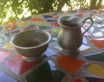 Vintage Wilton armetale pewter cream and sugar- USA