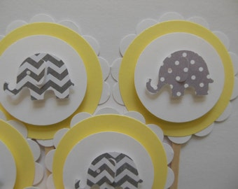 Elephant Cupcake Toppers - Yellow with Gray Polka Dot and Chevron Elephants - Gender Neutral Baby Showers - Birthday Parties - Set of 6