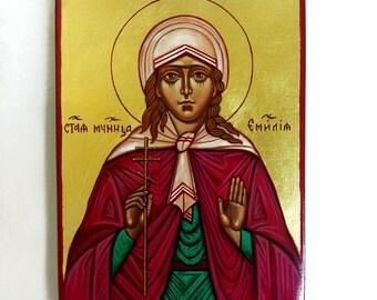 Saint Emilia icon, handpainted icon original, 8 by 6 inches