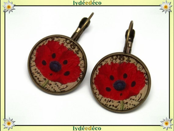 Earrings poppy resin red black beige flower Scriptures resin beads bronze brass French style