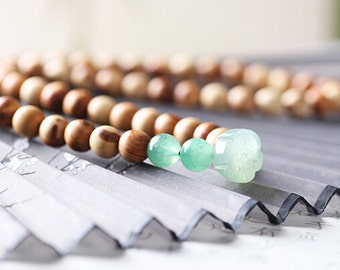 natural rare wooden beaded/bodhi seed plant seed beaded/Tibetan Buddhism Meditation yoga prayer beaded bracelet with jade lotus pendant