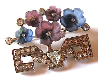 Vintage signed art deco style Basket of Flowers Brooch or Pin  Rhinestones and silver tone. french designer from the 1980s