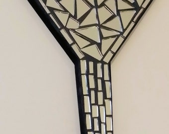 "9"" mosaic mirror martini glass"