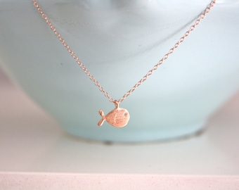 Rose Gold Necklace, Gold Fish Necklace, dainty gold necklace, best friend gifts, gifts for teens, christmas gifts, Rose Gold Jewelry pisces