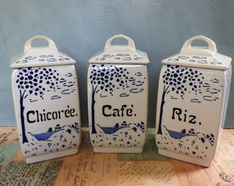 Set of 3 Vintage French Storage Jars by Niederville, Moselle Faience Art Deco 1920s Kitchenalia Kitchen Storage