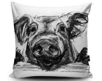 Charcoal Pig Vegan-Suede Cushion by Bex Williams | Cute Pig Illustration Handmade Pillow | Farm Animal Cushion | Black White Pig Bedding