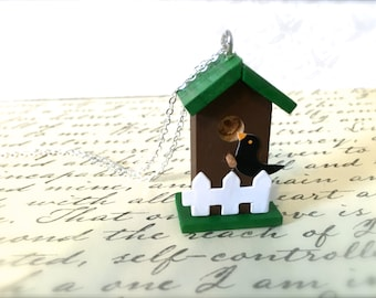 Miniature Wood Birdhouse Necklace. Brown. Green. Woodland. Cute Little Birds. Miniature House. Garden. Silver Chain. Under 20. Gifts. Unique