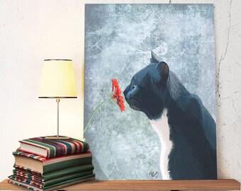 Black Cat Print  Sniffing Flower black cat wall art cat illustration black cat picture cat painting black cat poster cat art wall decor
