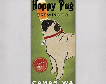 CUSTOM Hoppy PUG dog Brewery - Stretched Canvas Wall Art  Ready-To-Hang  Beer