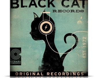 BLACK CAT records original graphic art giclee archival print 12 x 12 signed by artist