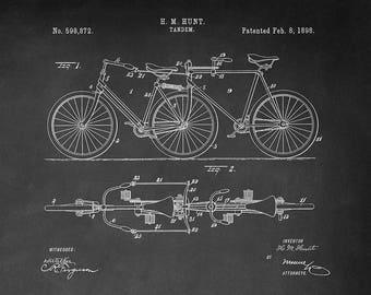 Tandem Bicycle Patent Art Print - Tandem Patent Art Print - Vintage Bicycle Patent Art Print - Bike Patent Print - Vintage Tandem Bicycle