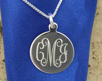 18mm Round Sterling Silver Engraved Monogram Charm Pendant with Necklace 07694