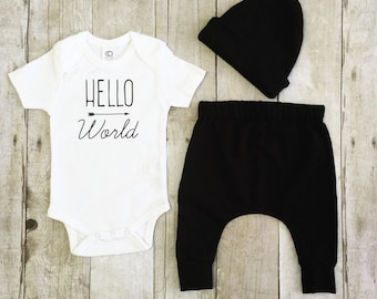 Newborn coming home outfit, hello world onesie outfit, baby shower gift