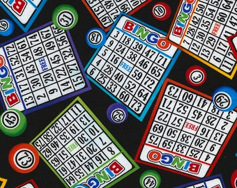 Bingo Fabric by the Yard / Gail by Timeless Treasures C5200 - Bingo Yardage on Black / Fat Quarter / By The Yard / Bingo Yardage