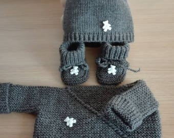 Set top baby booties mittens bonnet 0/3 months