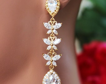 Cubic Butterfly Wedding Earrings, Gold Crystal Drop Bridal Earrings, Long CZ Rhinestone Bridesmaid Earrings, Bridal Accessories